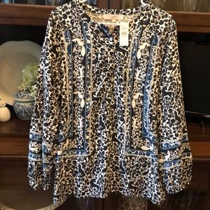 NEW LOFT Forest Creatures L Ann Taylor Lovely Top